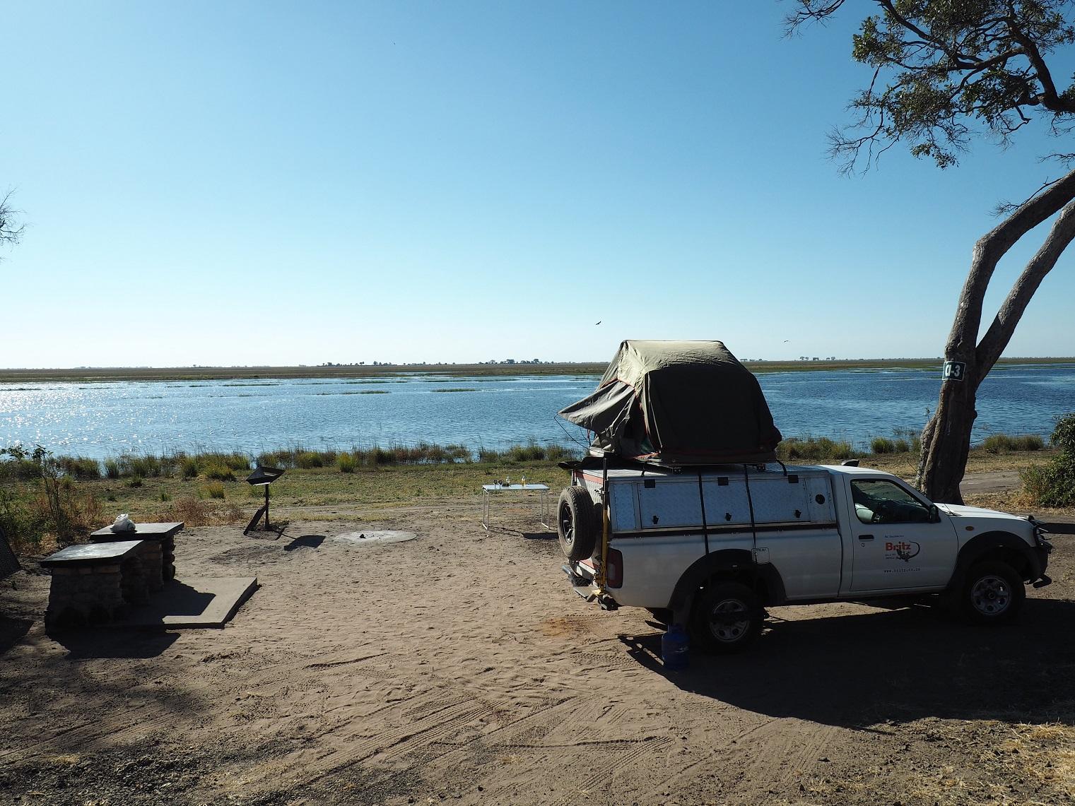 Campingplatz Moremi Dachzelt Rundreise Chobe Botswana